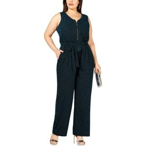 Women's Plus Metallic Zipper Sleeveless Jumpsuit